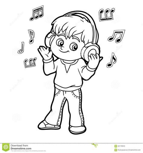 clipart da colorare libro da colorare ragazzino ascolta la musica sulle