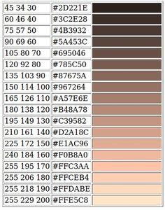 skin color code rgb and hex codes for different skin and hair tones