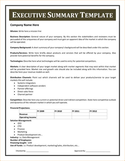 business executive summary template business executive summary template