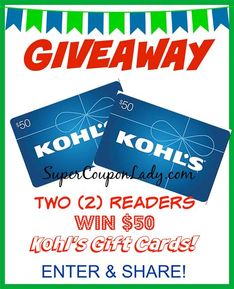 printable gift cards kohls 2 readers each win a 50 kohl s gift cards from ebates