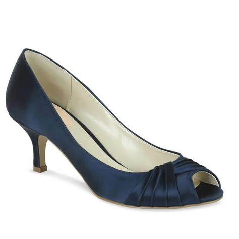 Wedding Shoes Navy by Navy Blue Satin Heels