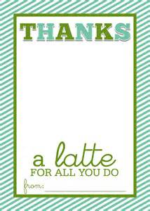 thanks a latte card template a slice of shepard s pie thanks a latte frugal thank you
