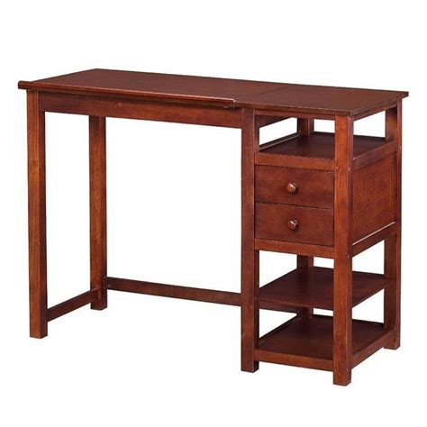 counter height drawing table with storage in walnut