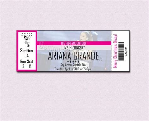 A Place Tickets Custom Concert Ticket For Grande Honeymoon Tour Gift Certificate By Designsmadesimple
