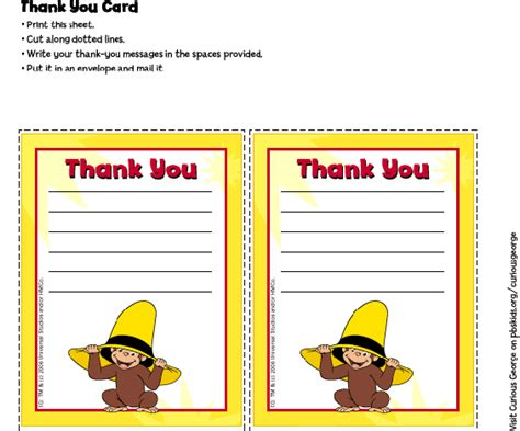 printable thank you cards for teachers from parents curious george thank you cards birthday party pbs
