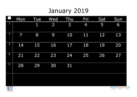 printable monthly calendar  january week day starts monday  printable  monthly