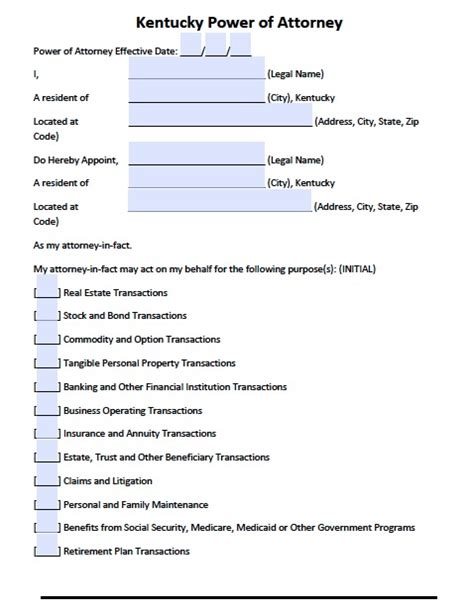 free printable durable power of attorney template free kentucky power of attorney forms and templates