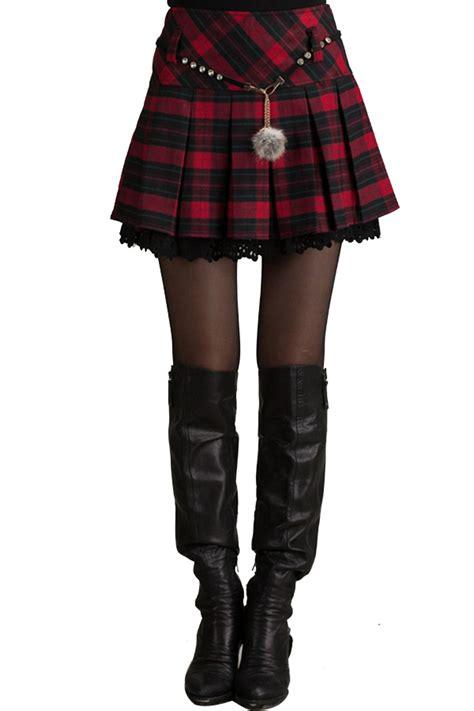 plaid pleated high waist skirt oasap