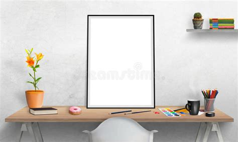 Posters For Office Desk Poster Frame And Laptop On Office Desk For Mockup Stock Illustration Illustration 69193231