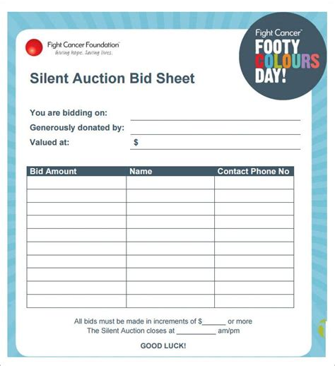 bid sheet template 25 unique auction bid ideas on silent auction
