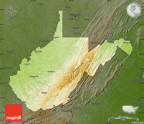 physical map of virginia physical map of west virginia darken