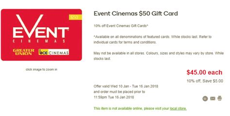 Woolworths Gift Cards 10 Off - expired 10 off event cinema gift cards at woolworths until 16 january gift cards
