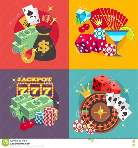 Jackpot Games Win Money - casino gambling vector concept set with win money jackpot flat icons stock vector