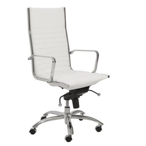 eurostyle dirk high back office chair in white chrome