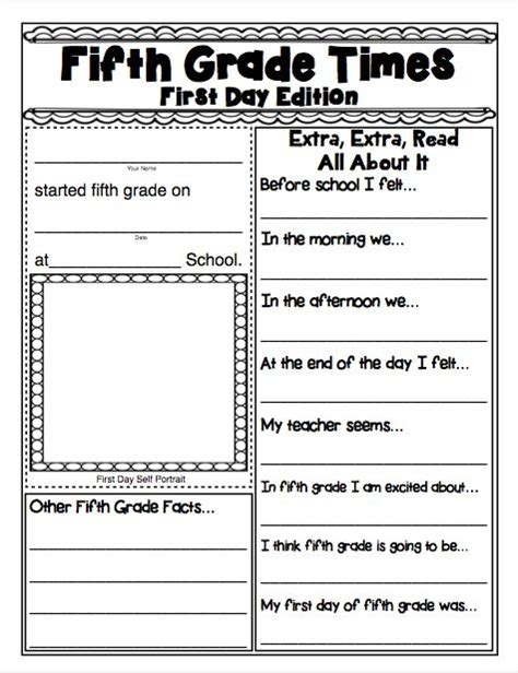 printable lesson plans for 5th grade 1st day of school activities for 6th graders math lesson