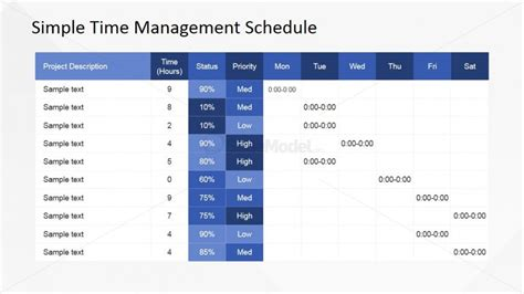 Time Mba Daily Schedule by Flat Design Timetable Powerpoint Template Slidemodel