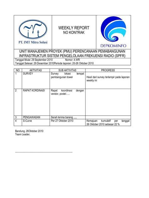 contoh laporan gudang contoh form laporan mingguan bulanan