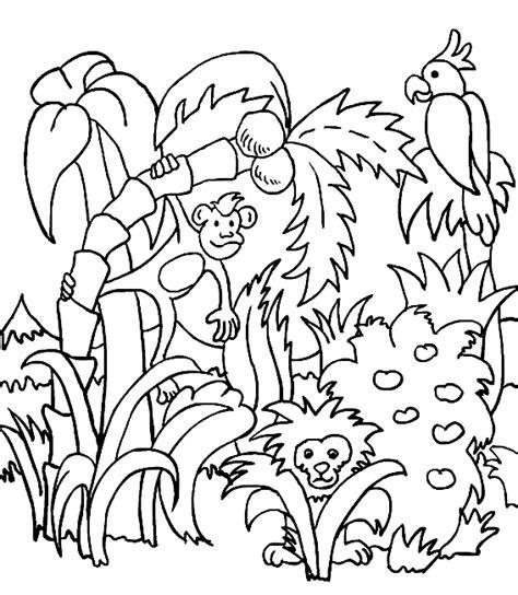 dieren kleurplaten oerwoud