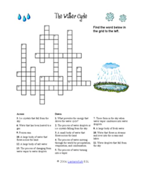 The Water Cycle Worksheet Answers by The Water Cycle Crossword Puzzle 2nd 3rd Grade Worksheet