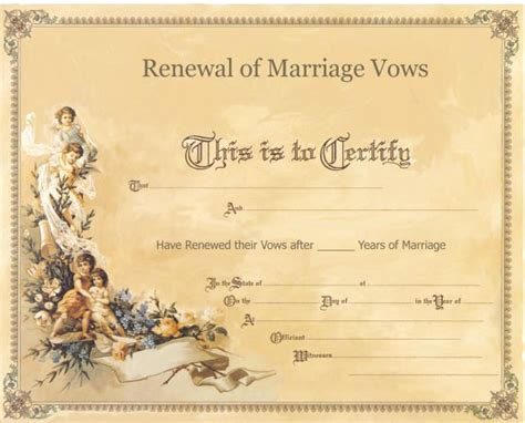 vow card template renewal of vows ceremony certificate anniversary