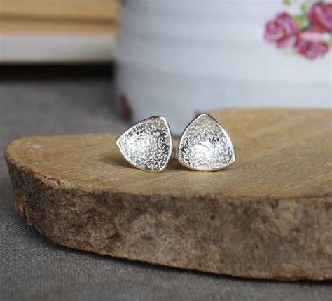 Handmade Silver Stud Earrings - handmade textured silver trillion stud earrings by