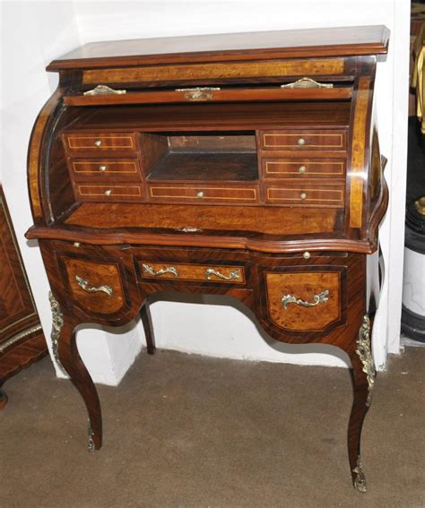 dresser with desk top louis xvi roll top desk walnut bureau plat furniture