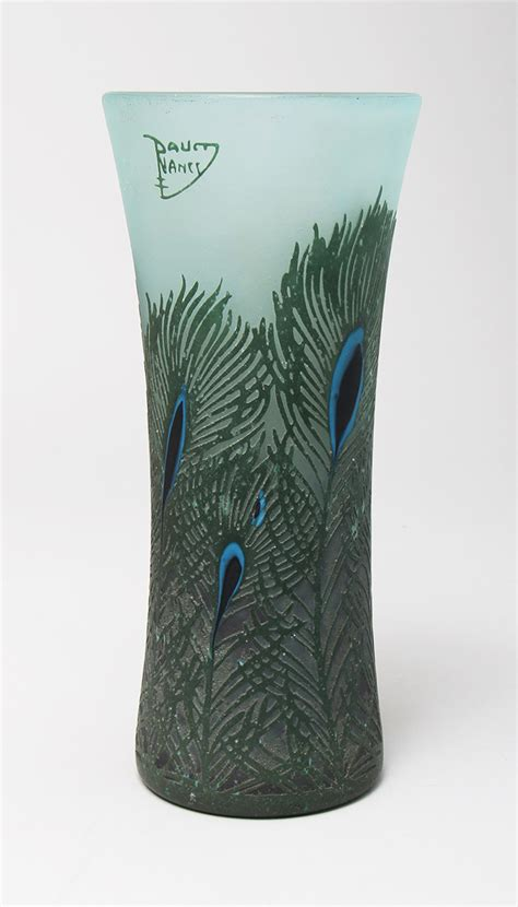 Peacock Feather Vase by Chasenantiques Glass Daum Nancy Peacock