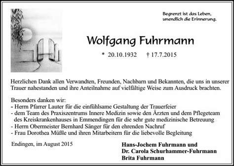 Nachruf Schreiben Muster Wolfgang Fuhrmann Trauer Traueranzeigen Nachrufe