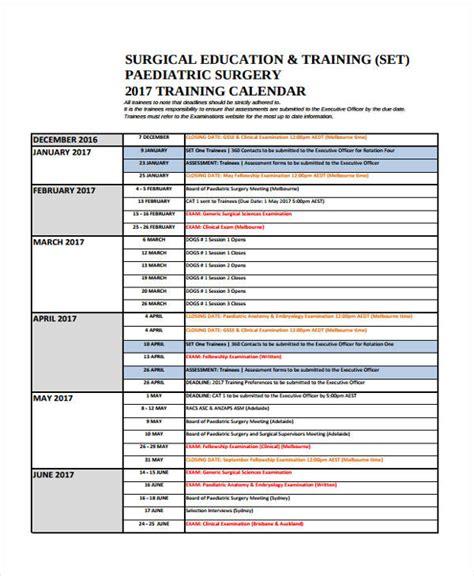9 training calendar templates free sle exle