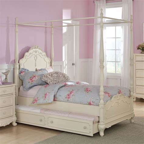 white canopy bed full homelegance cinderella canopy poster bed in antique white