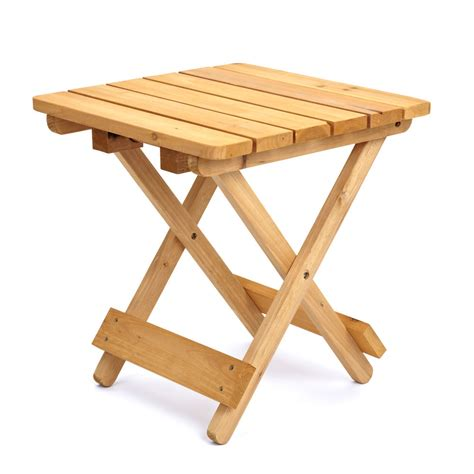 Small Folding Cing Table Durable Wooden Outdoor Garden Patio Small Folding Square Side Utility Table Ebay