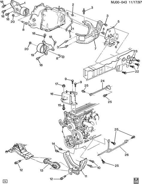 motor repair manual 1999 chevrolet cavalier transmission control engine transmission mounting l4