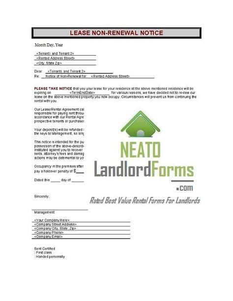 Section 8 30 Day Notice by Rental Lease Agreement Neato Landlord Forms Get Rental