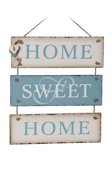 home sweet home vintage blue wall sign pyrography