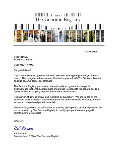 Genome Research Letter Products The Genome Registry