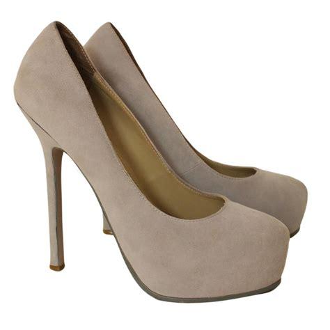 yves laurent high heels yves laurent heels heels deerskin beige ref 53285
