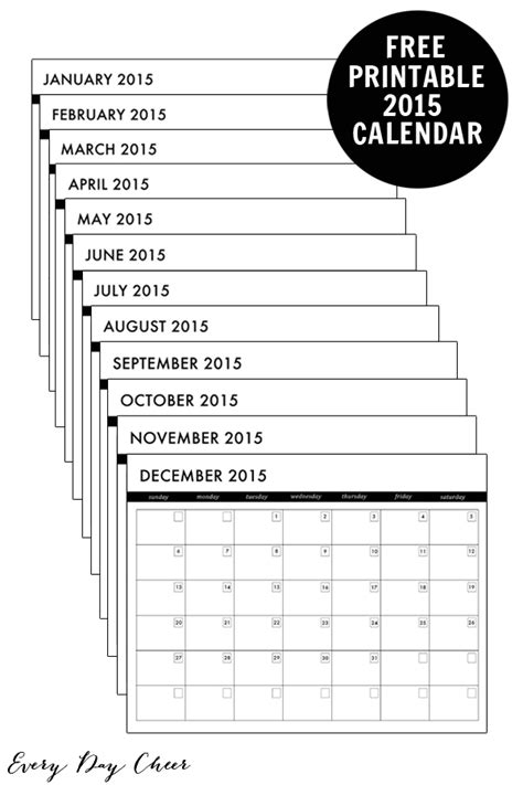 printable pocket monthly planner 2015 7 best images of 2015 pocket calendar printable 2015