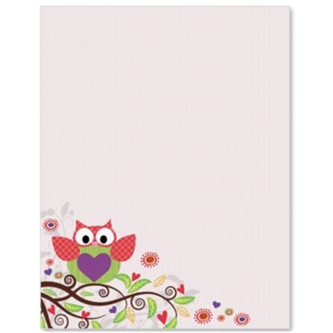 printable owl border paper valentine owl border papers paperdirect
