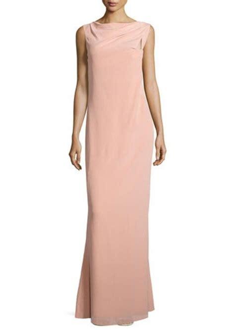 draped neckline escada escada sleeveless draped neckline gown dresses