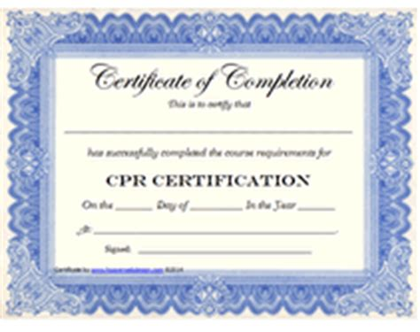 free cpr certification card template free printable cpr certification award certificates