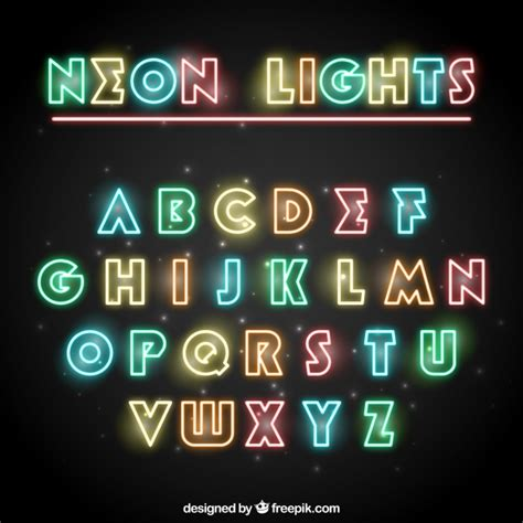 free download neon typography colored neon typography vector free download