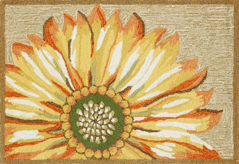 Sunflower Area Rug 20x30 Front Porch Tufted Sunflower Yellow Outdoor Area Rug