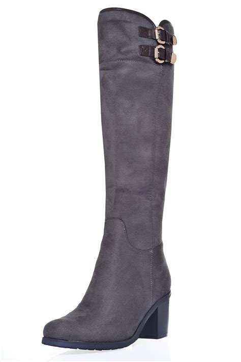 sole city libby mid heel knee high boots in grey suede