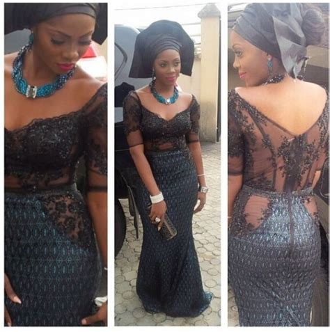 kord lace nigeran lace styles tiwa savage in mixed fabric black lace dress with black
