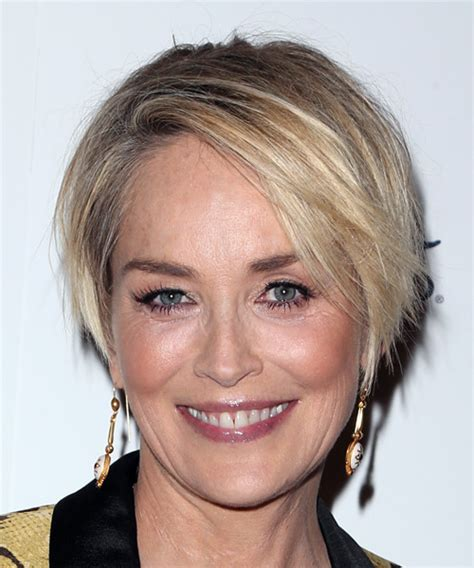 sharon stone hairband sharon stone short straight casual bob hairstyle with side