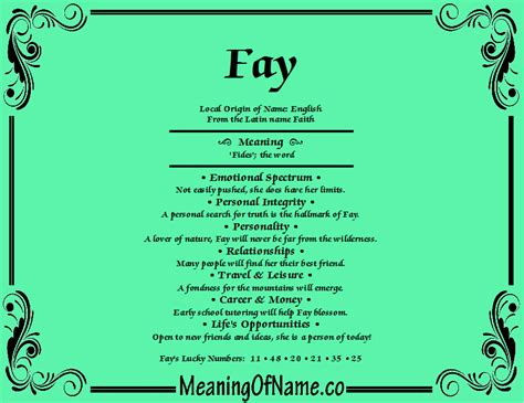 meaning of first names fay meaning of name
