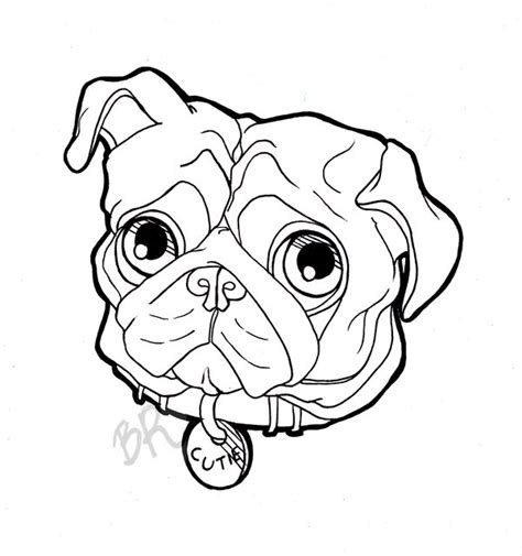 pug outline drawing pin pug outline on