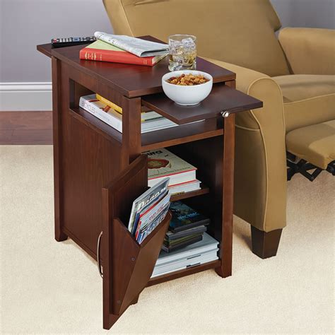 recliner side table with storage the easy access recliner side table hammacher schlemmer