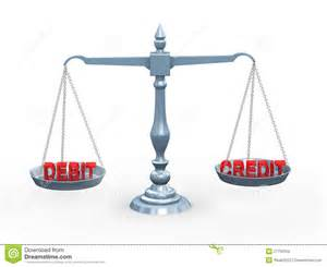 3d word debit and credit on scale royalty free stock images image