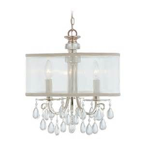 Mini Shade Chandelier Mini Chandelier With White Shade In Polished Chrome Finish 5623 Ch Destination Lighting